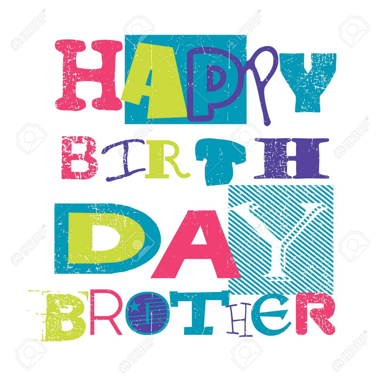 Happy Birthday CardHappy Birthday Brother Vector Illustration – Happy Birthday Card for Brother