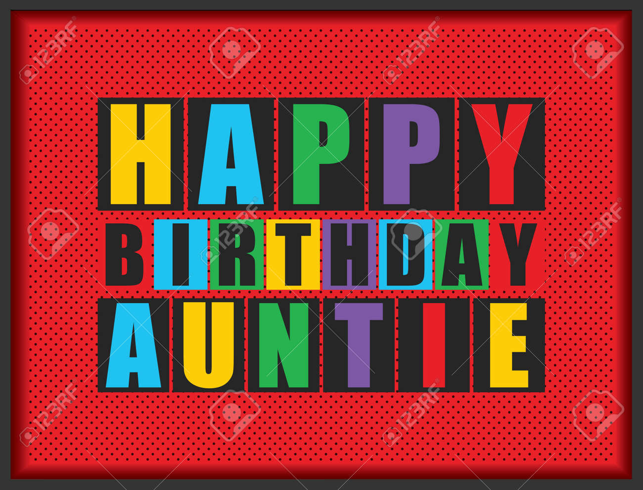 Retro Happy Birthday Card Auntie Vector Illustration Stock