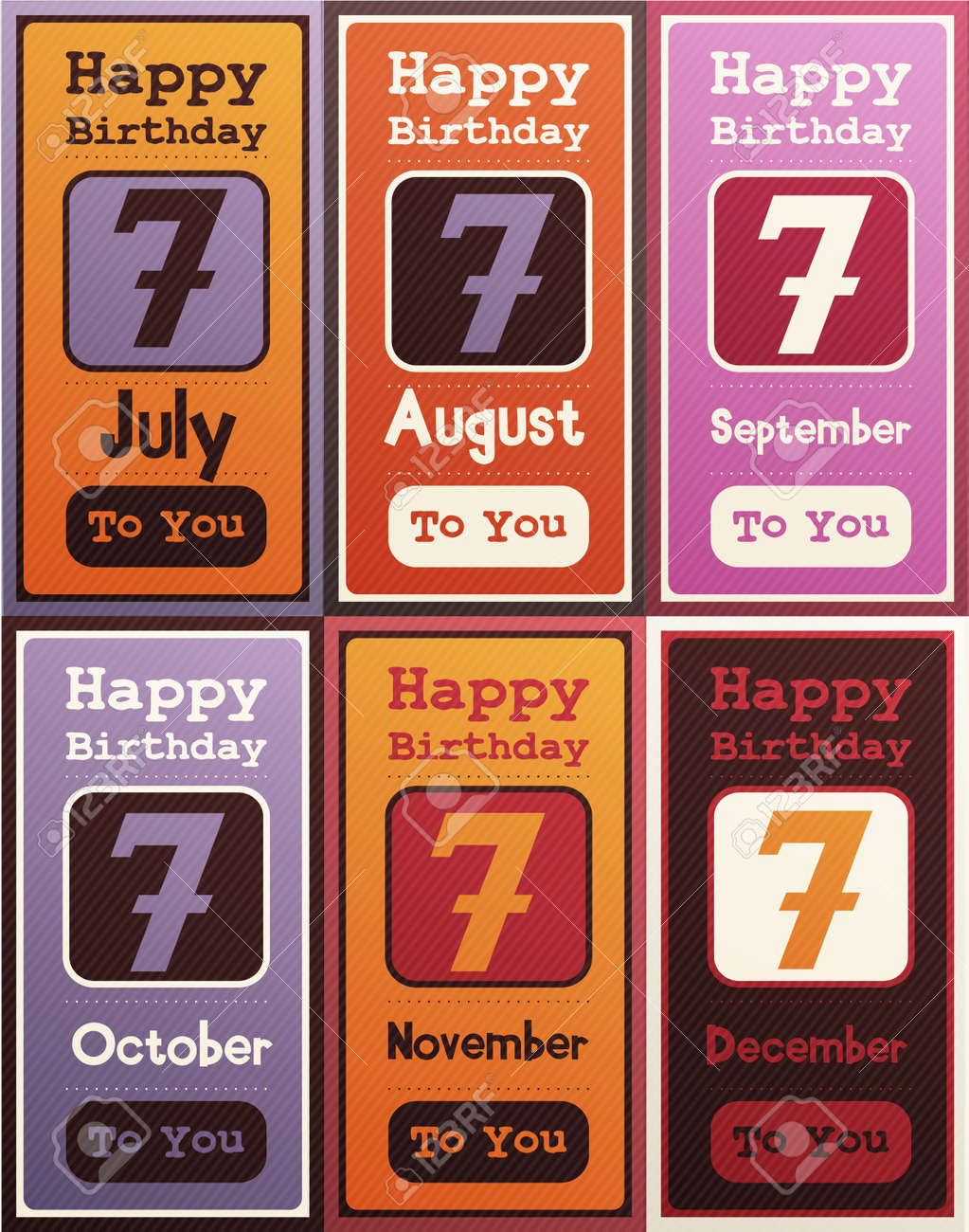 Greeting Happy Birthday CardMonth July August September October November