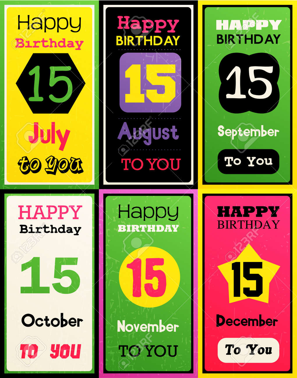 Greeting Happy birthday card,Month July, August, September, October,