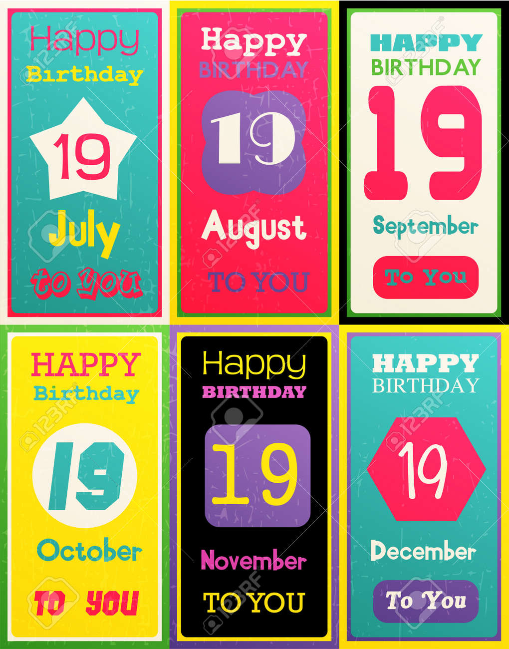 Greeting Happy Birthday CardMonth July August September October November December Vector Illustration Set Of Six Gift Bannersing Card