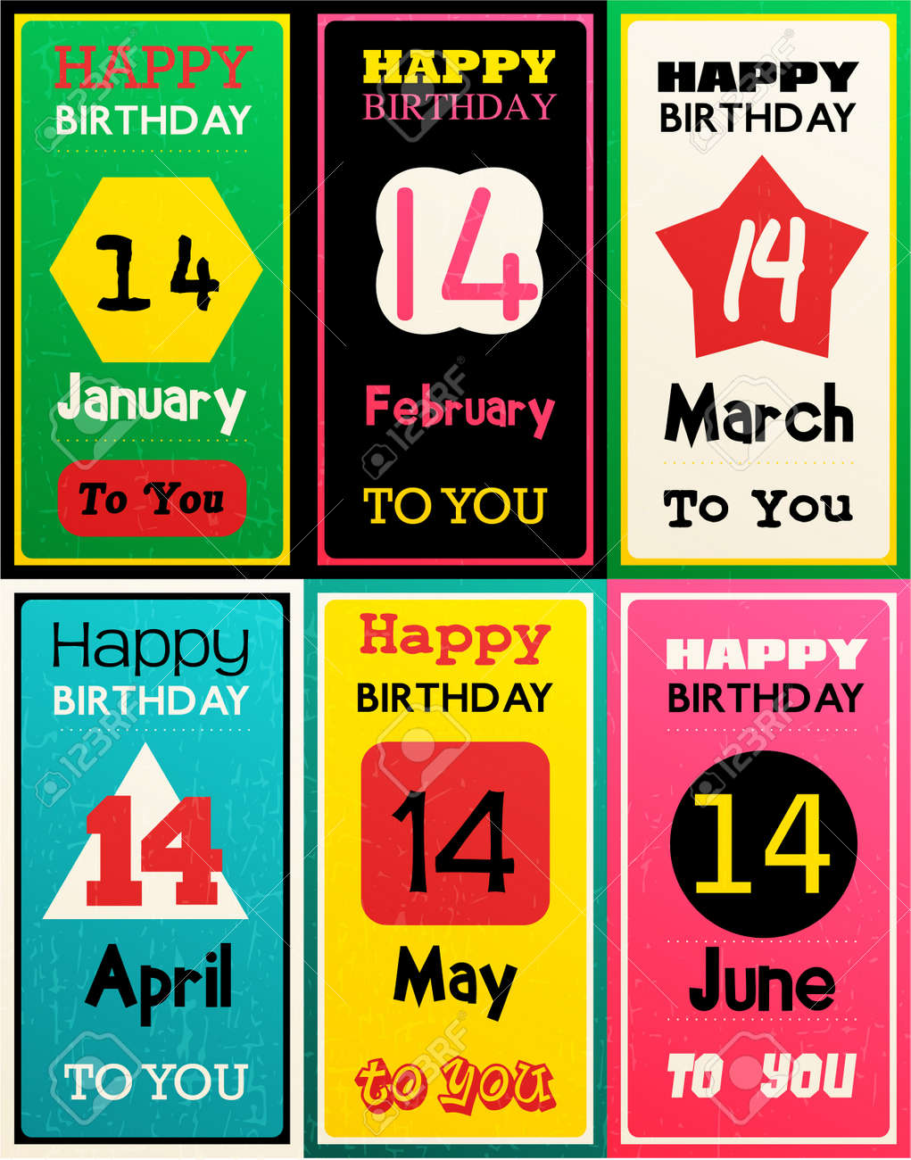 Greeting Happy Birthday Card Month January February March