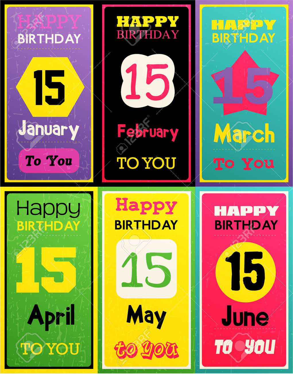 Greeting Happy Birthday Card Month January February March April May