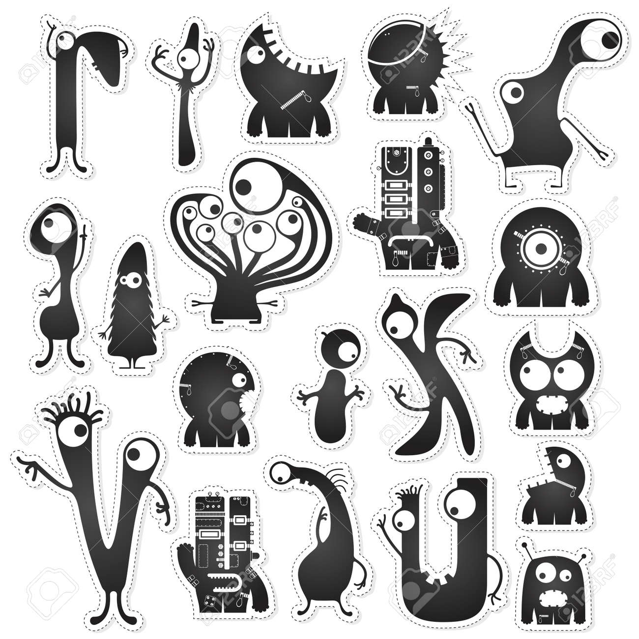 set of twenty black and white cute monsters isolated on white