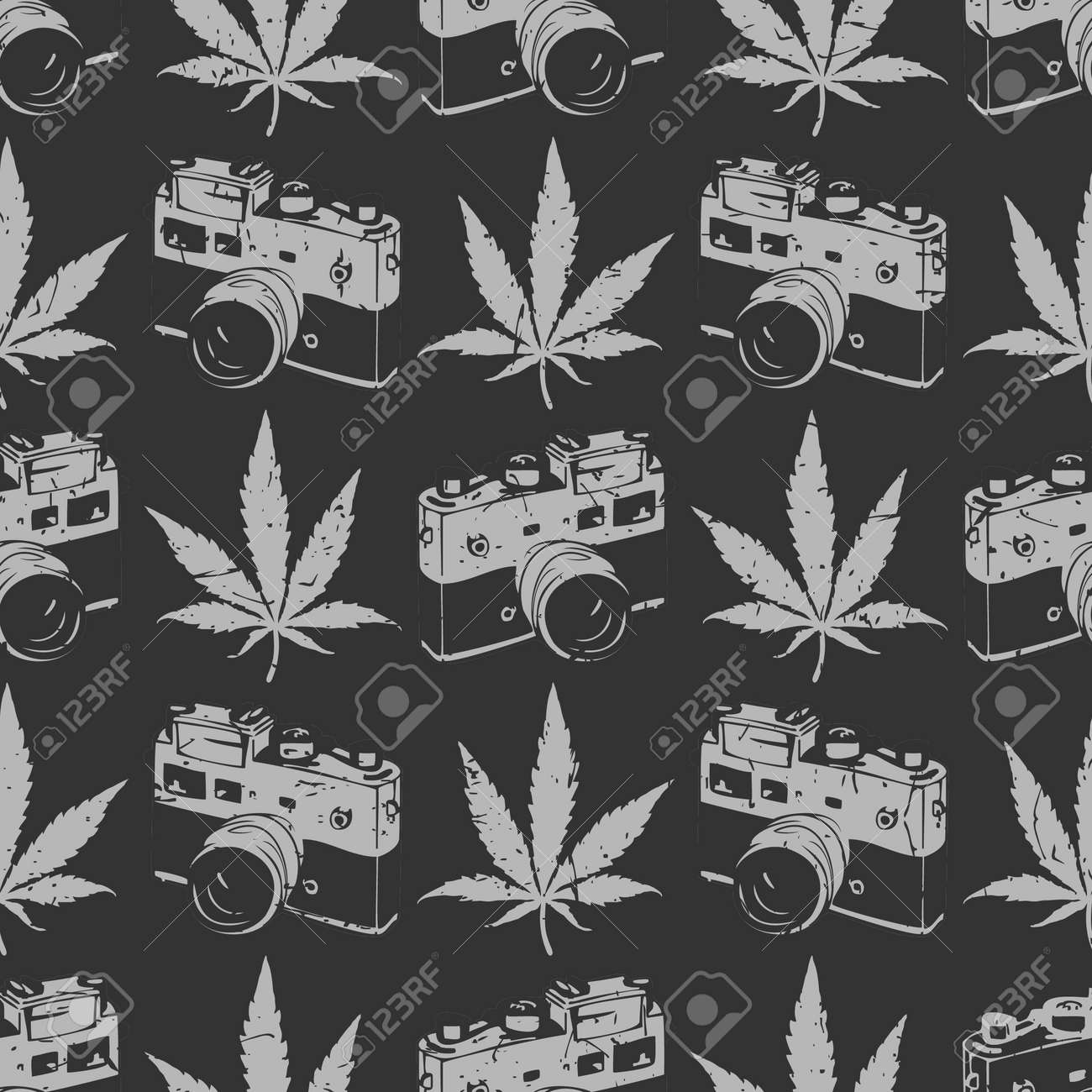 Decorative Seamless Pattern With Grey Marijuana Leaves And Old Camera On Black Background Wrapping Paper