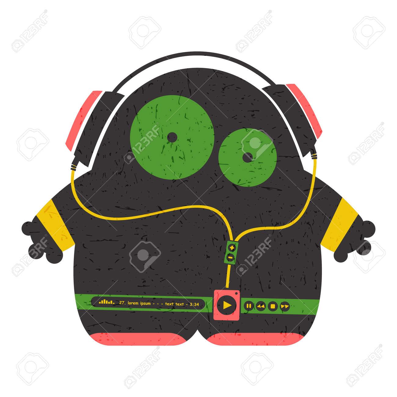 Dessin Casque Audio personnages drôles avec lecteur audio, écouter de la musique au