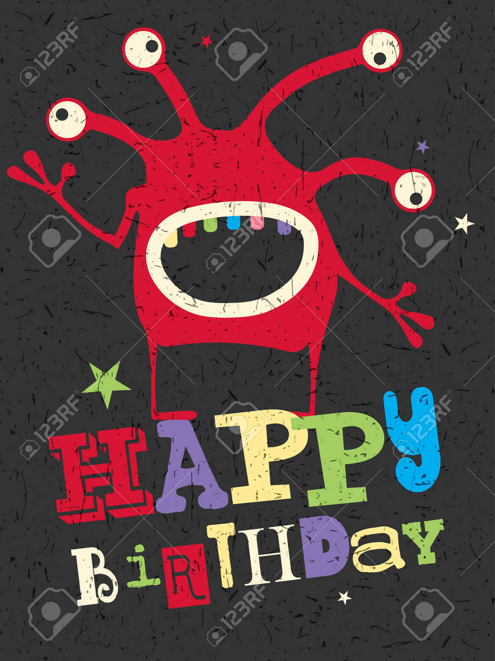 Happy Birthday Gift Card With Cute Color Monster Cartoon Illustration Invitation Postcard Stock Vector