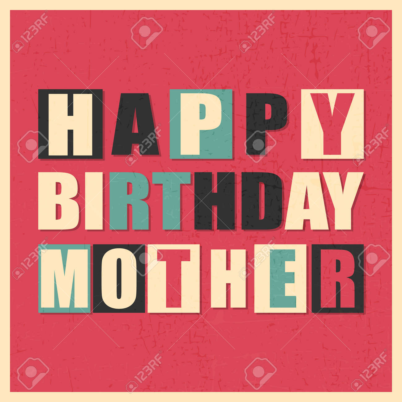 Colorful Greeting Card Happy Birthday Mother On Red Background