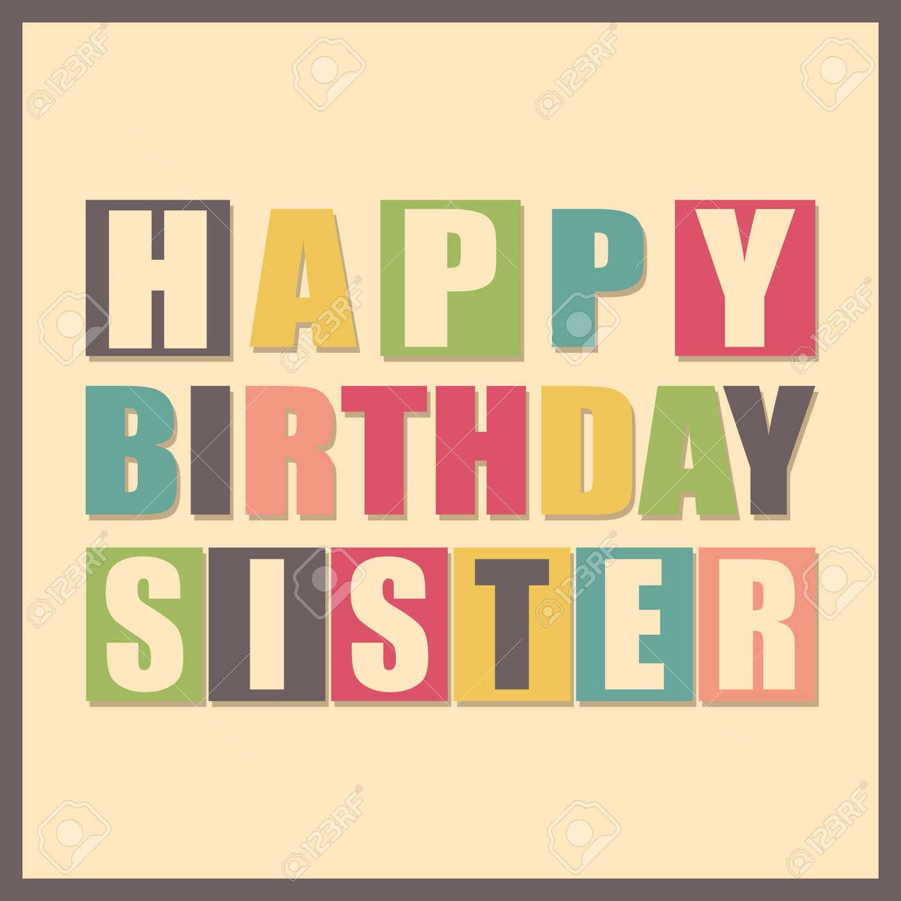 Bunte Grusskarte Alles Gute Zum Geburtstag Schwester Auf Gelbem