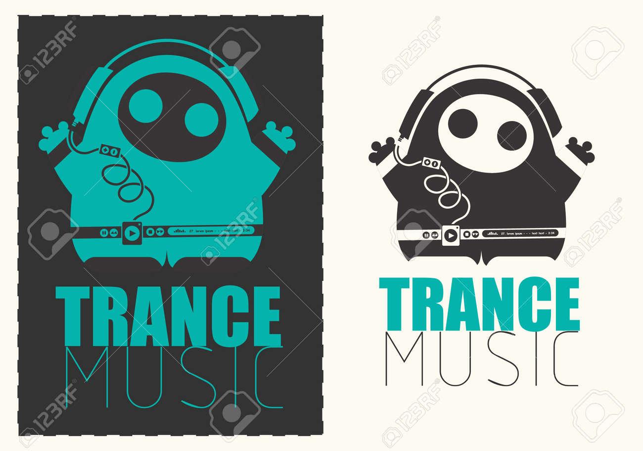 Monstruo divertido con reproductor de audio escuchando música Trance en  auriculares