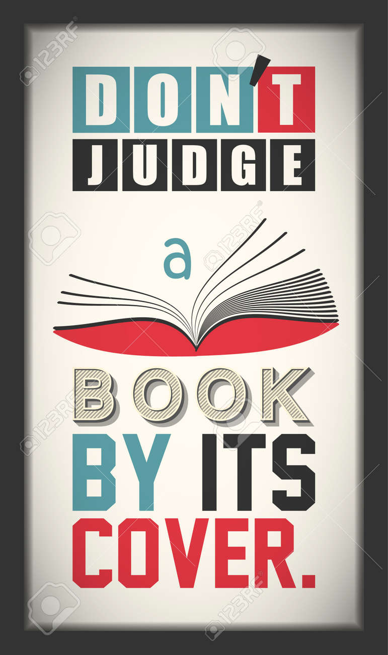 Dont Judge A Book By Its Cover Inspirational Motivational Quote Vintage Color