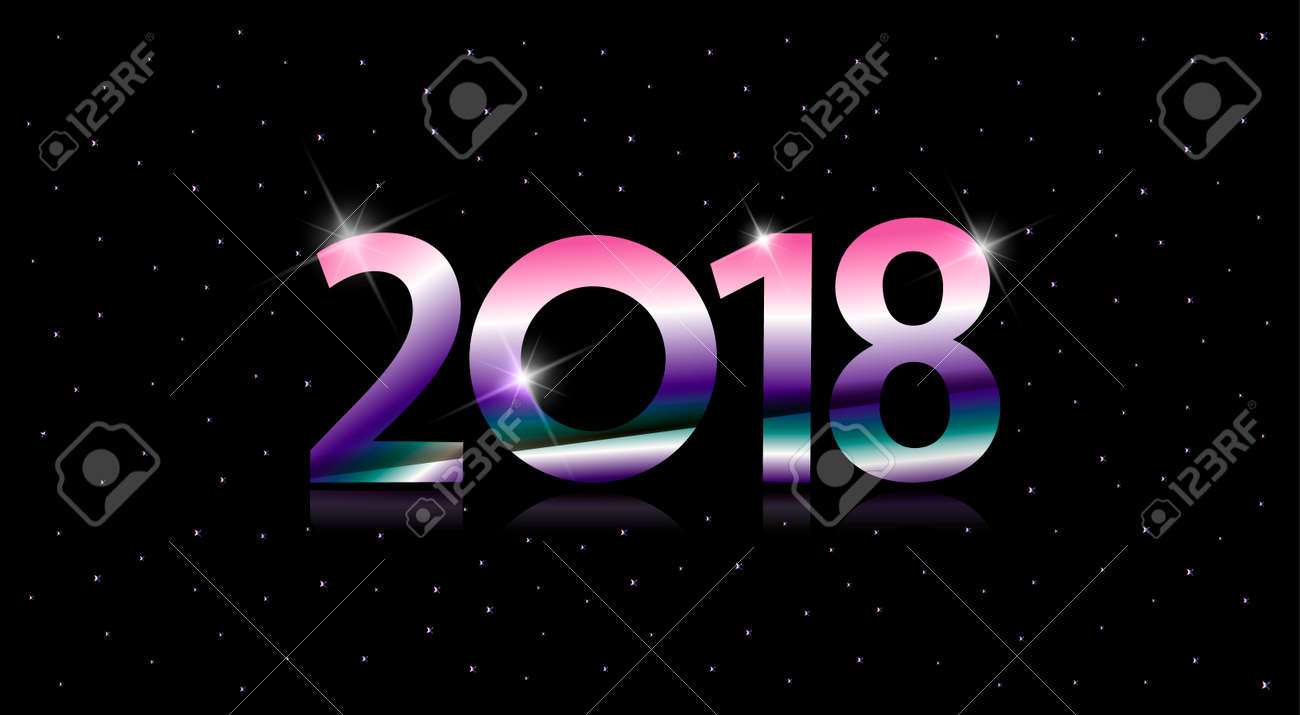 2018 happy new year card with color numbers stock vector 91110262