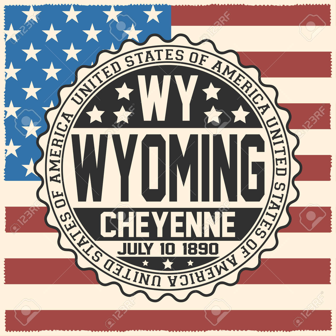 Decorative Stamp With Text United States Of America Wy Wyoming