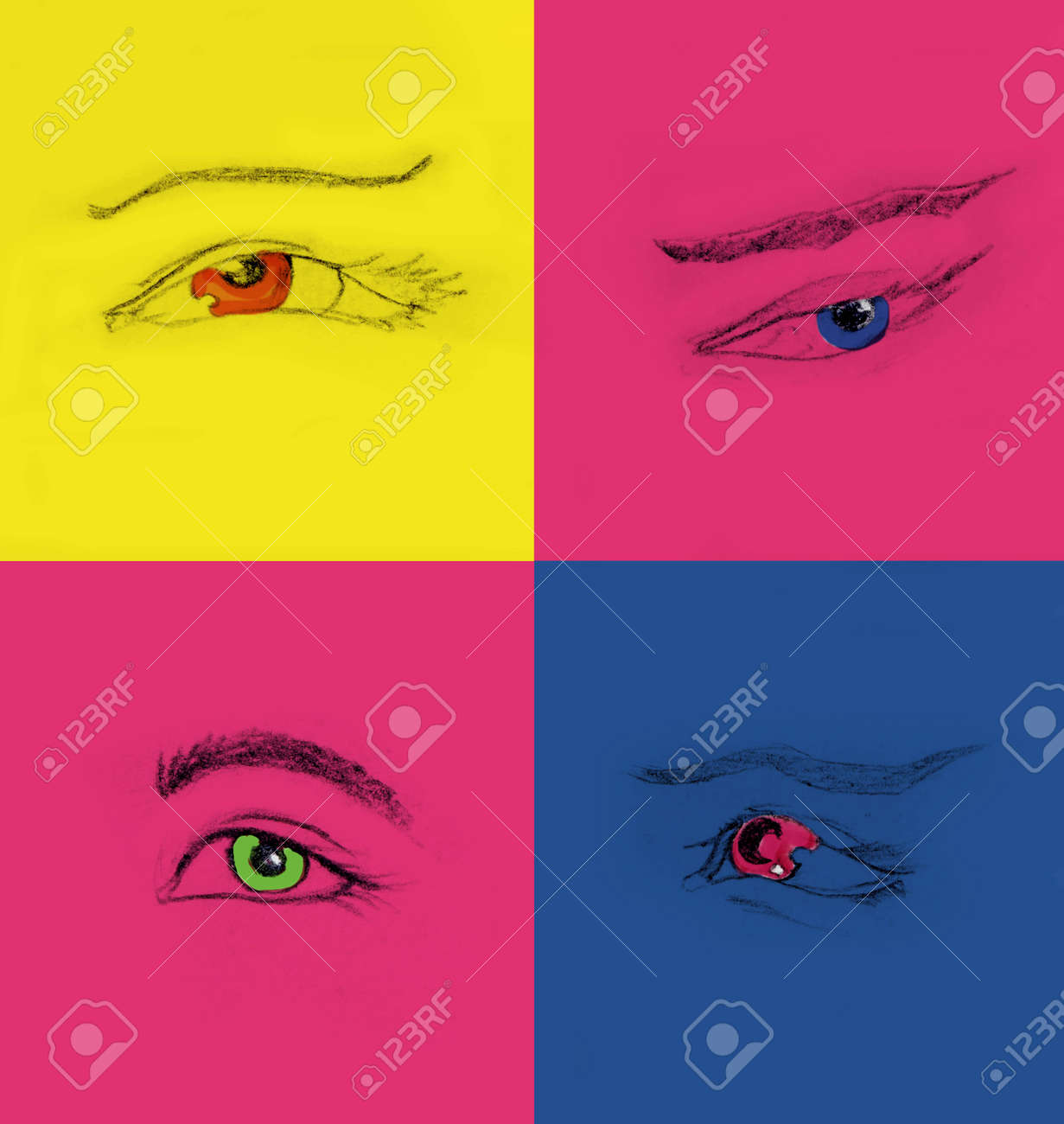Collage of four different hand drawing eyes pencil sketch 4 different female eyes stock photo