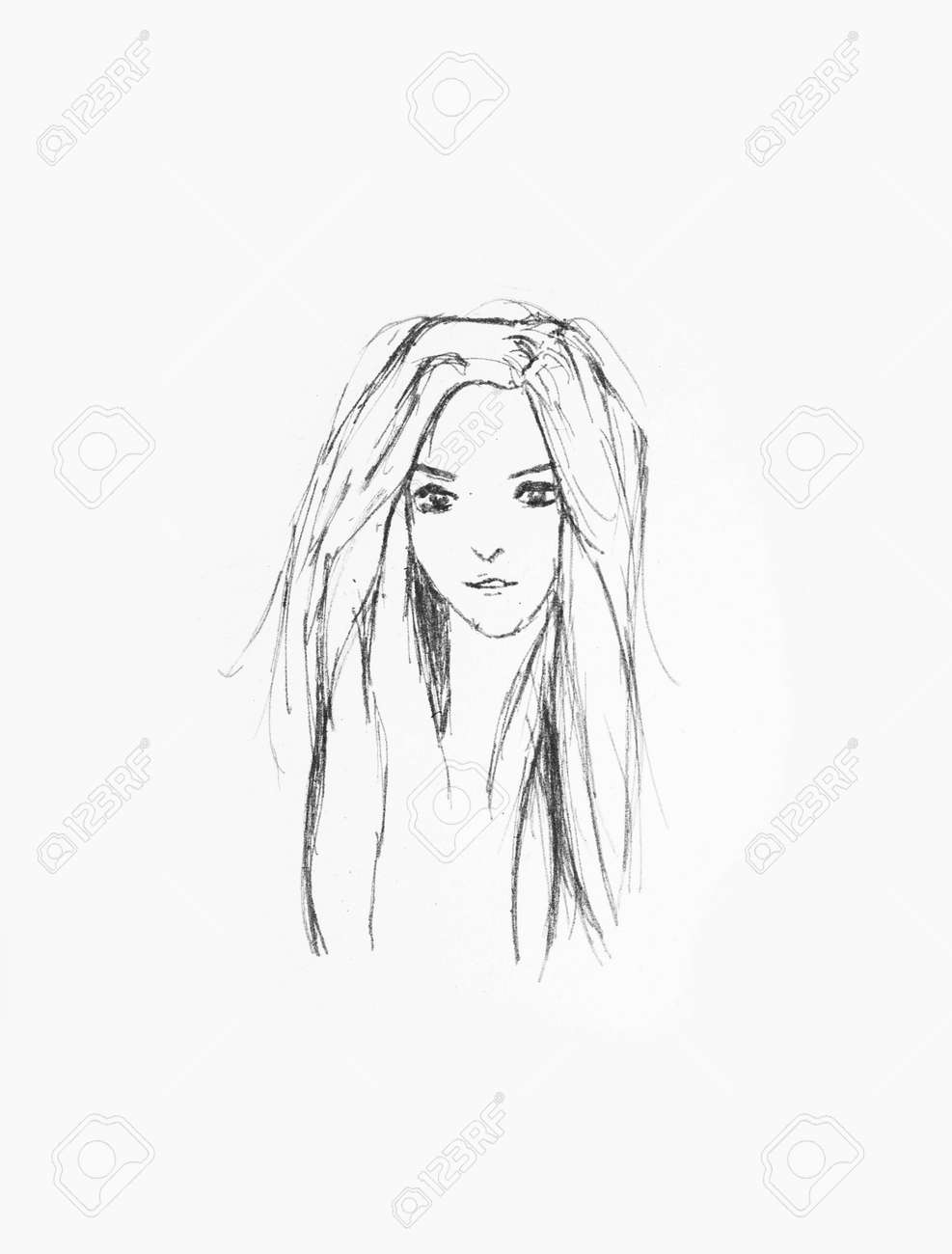 Hand drawn beautiful girl portrait pencil sketch of an anime girl on a white paper