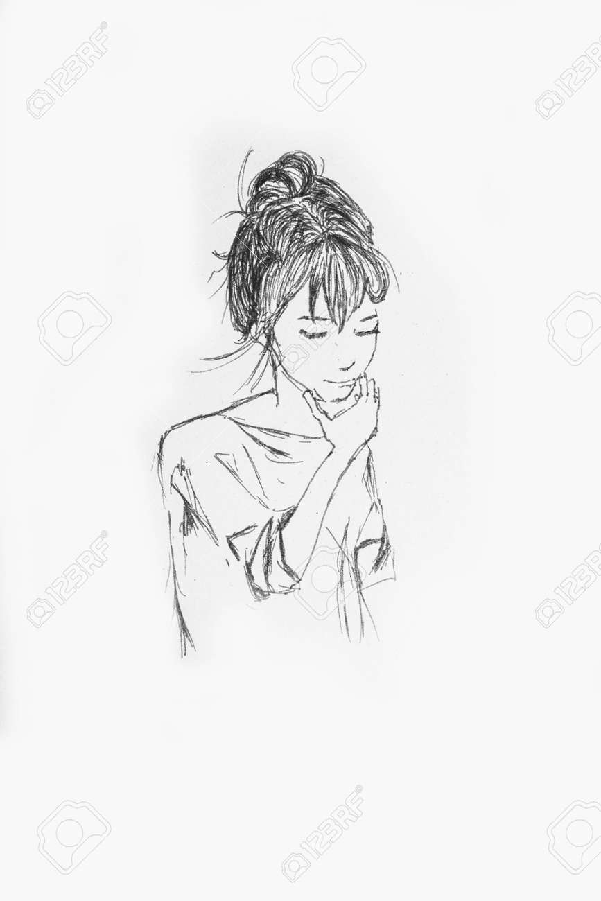 Hand drawn beautiful girl portrait pencil sketch of an anime