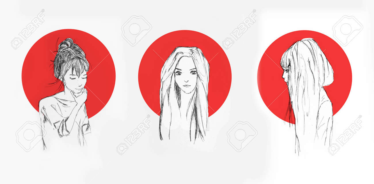 Different pencil sketch of an anime girls with red circle behind them on the background stock