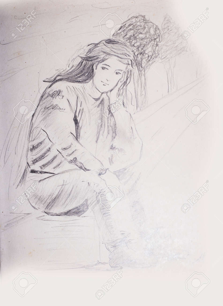 Pencil sketch of a young girl sitting on a foot path and waiting trees in
