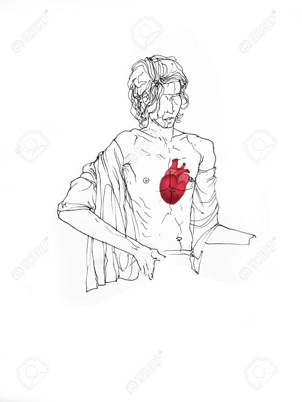 Figurative line drawing of a man sitting open chest with heart showing inside creative illustration
