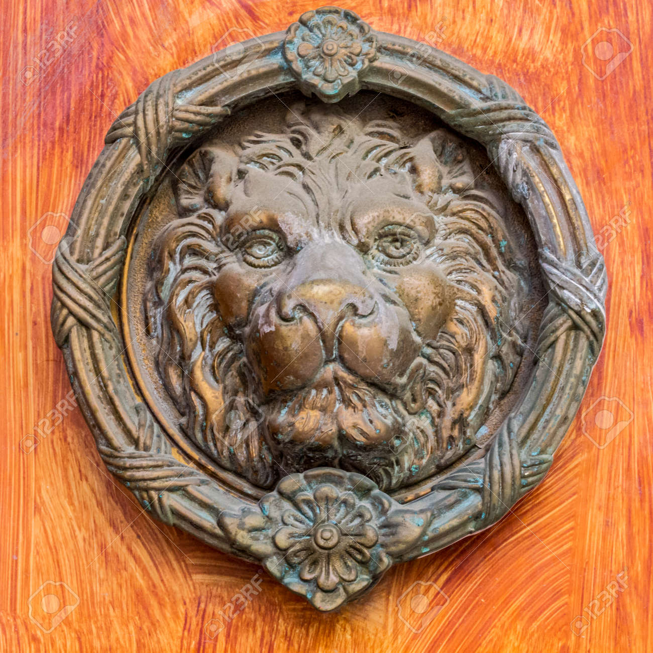 Vintage Brass Door Knocker Lion Head Decorative Detail On