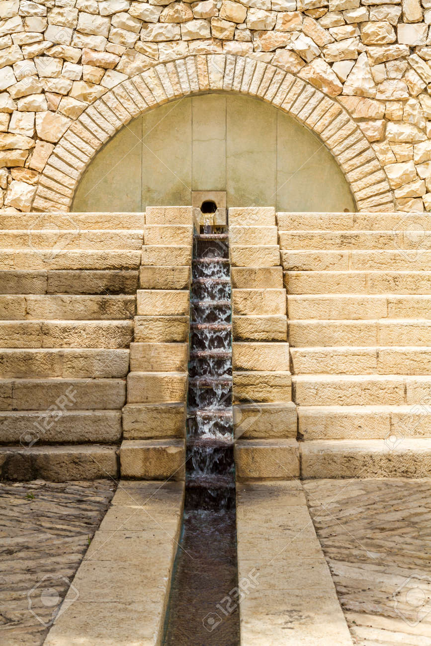 Water Flowing Down The Stone Steps. Fountain Cascading In Jerusalem ...