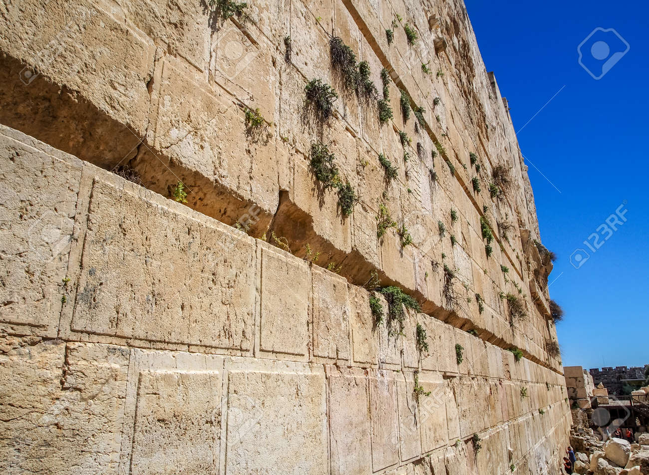 The Western Wall of the temple close-up, Temple Mount in Old