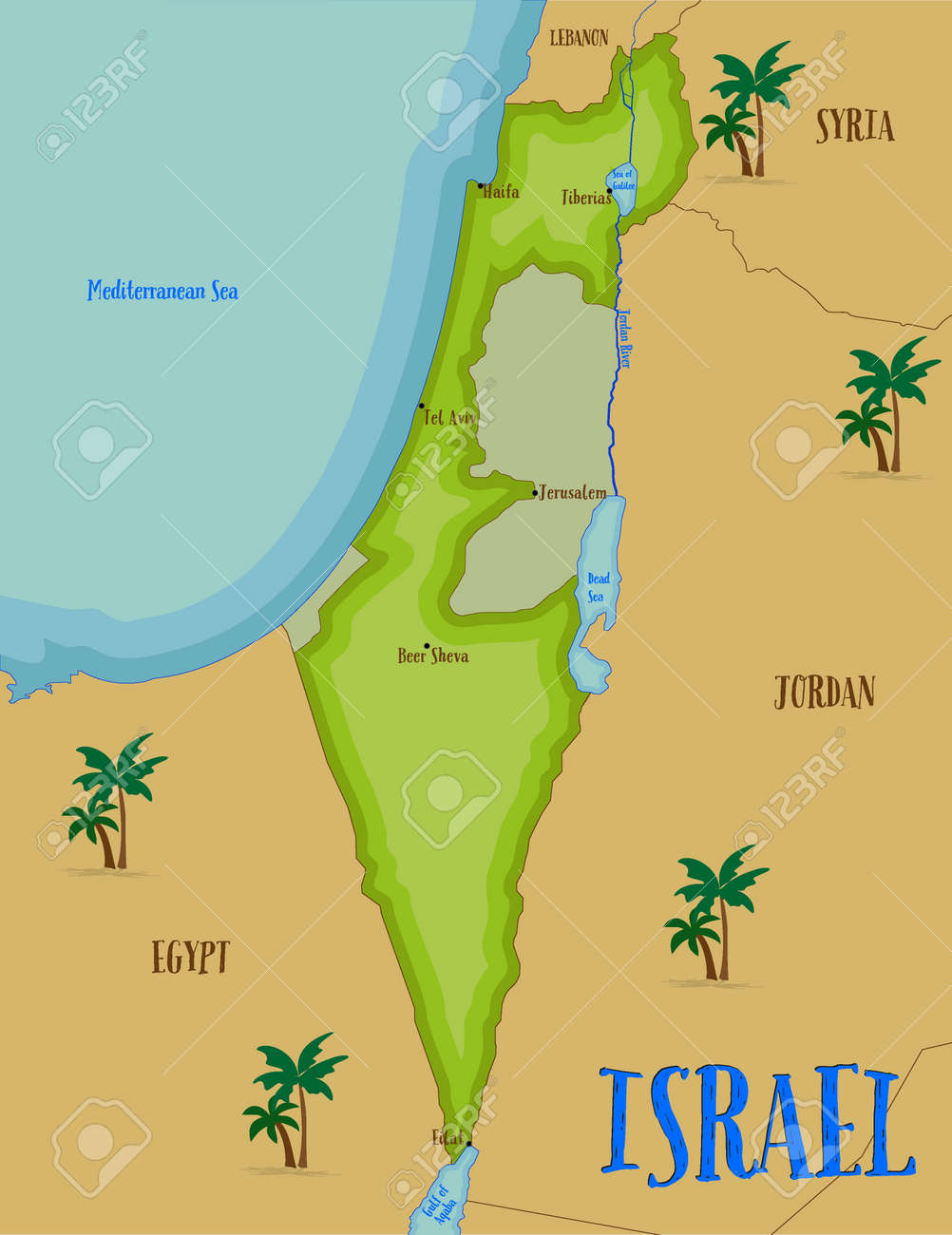 Welcome To Holy Land Map Of Israel In Cartoon Style Vector - Mapa de israel
