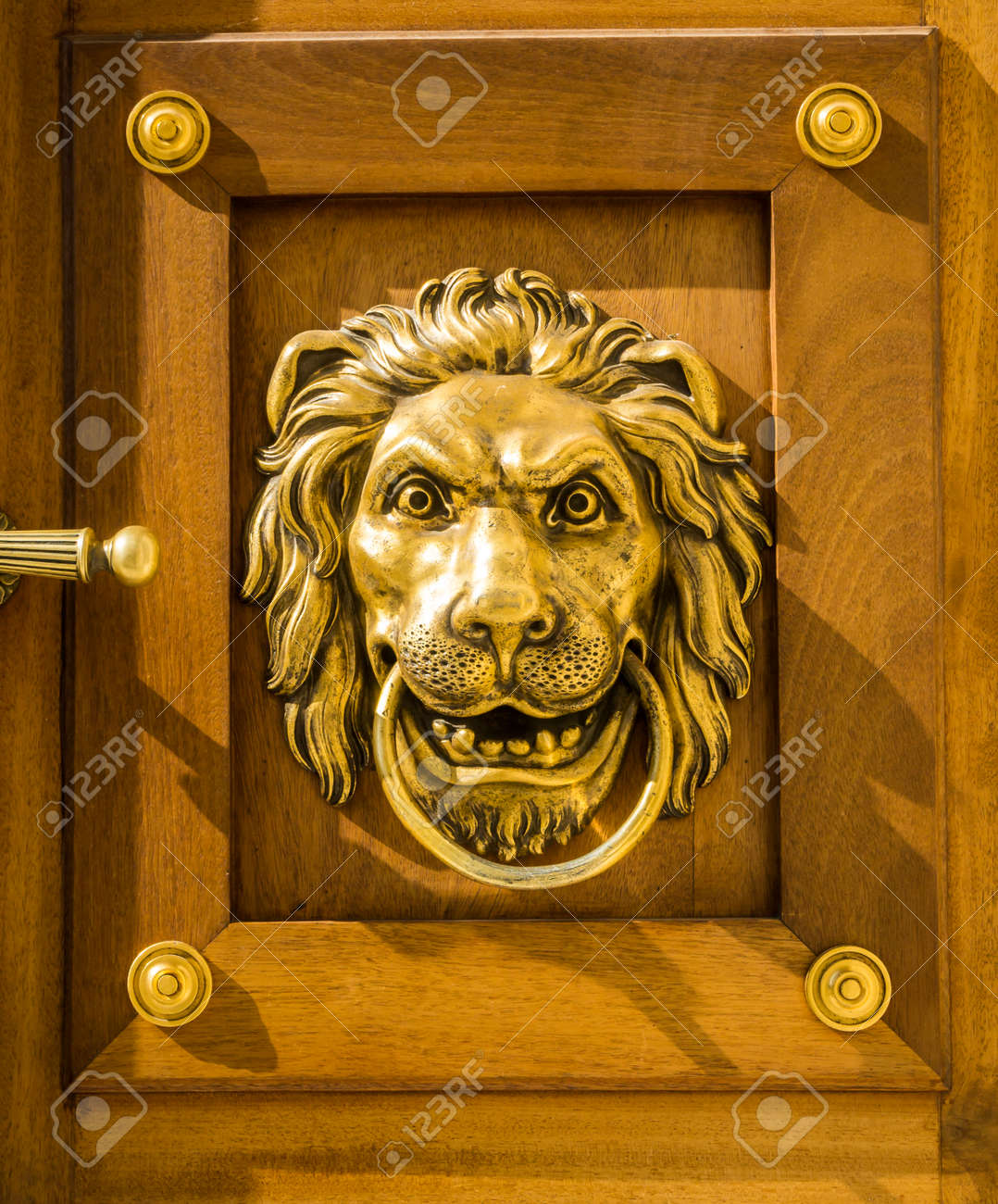 Vintage Door Handle Lion Head Decorative Detail On The Wooden