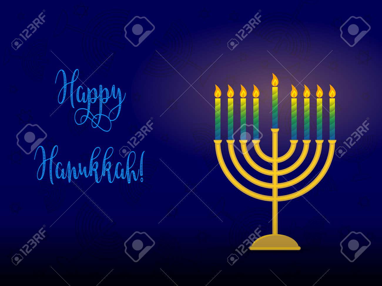 Greeting Card For Jewish Holiday Of Hanukkah Hanukkah Menorah