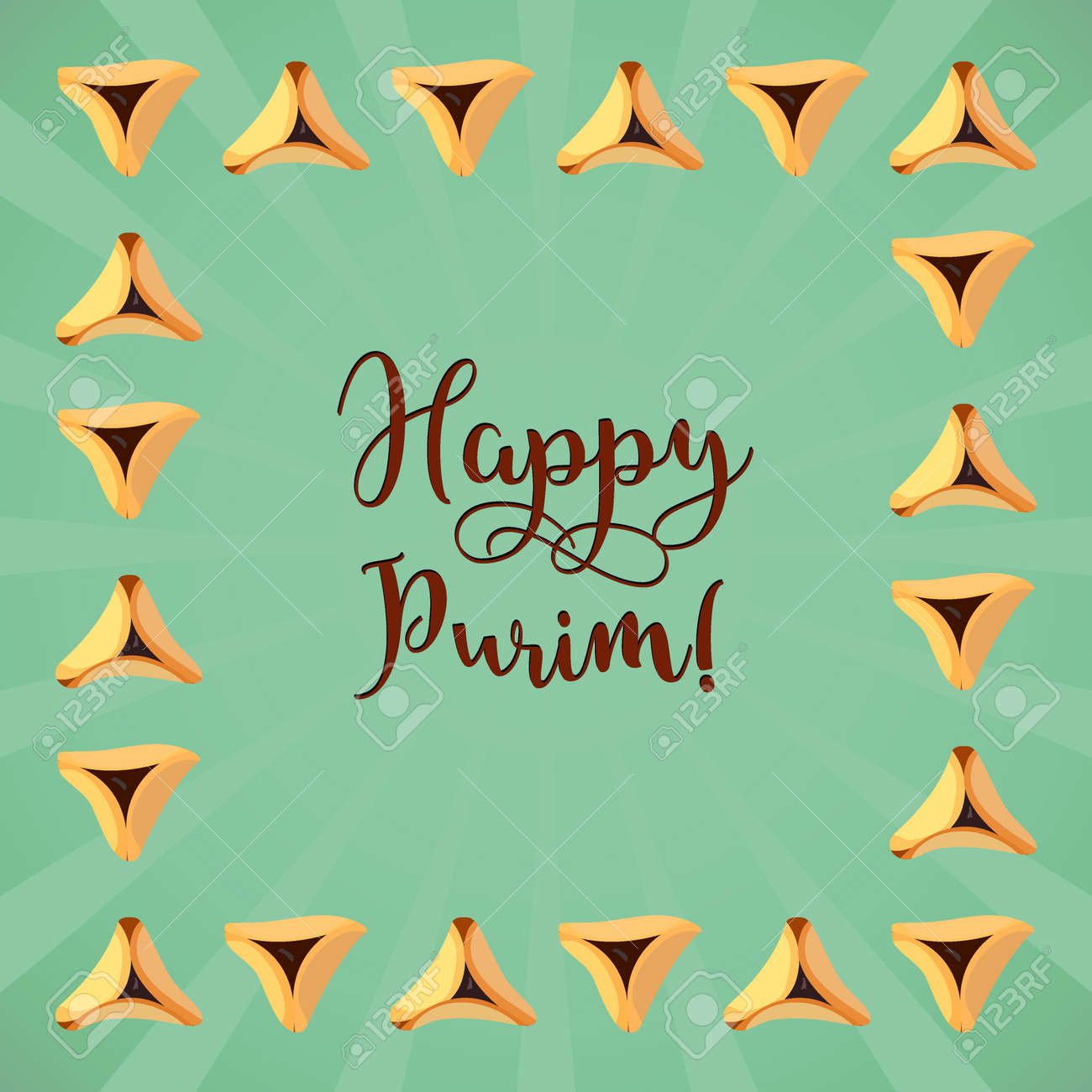 Jewish Holiday Of Purim Greeting Card With Traditional Hamantaschen