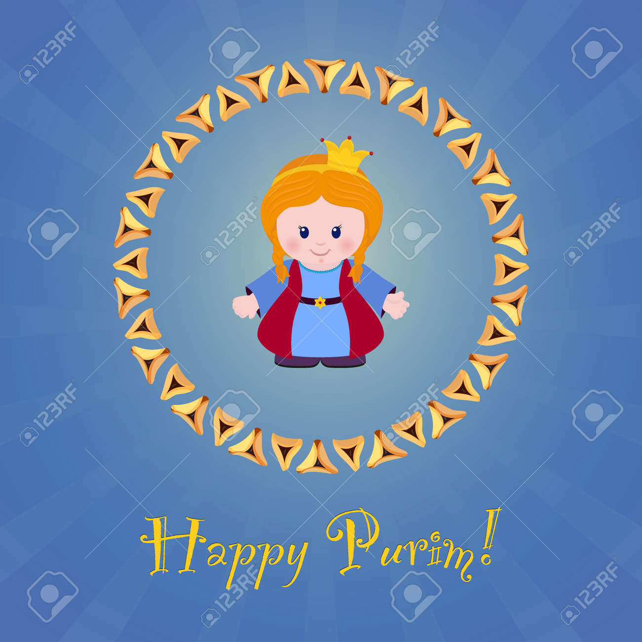 Jewish holiday of purim greeting card with esther happy purim greeting card with esther happy purim vector illustration of kristyandbryce Gallery