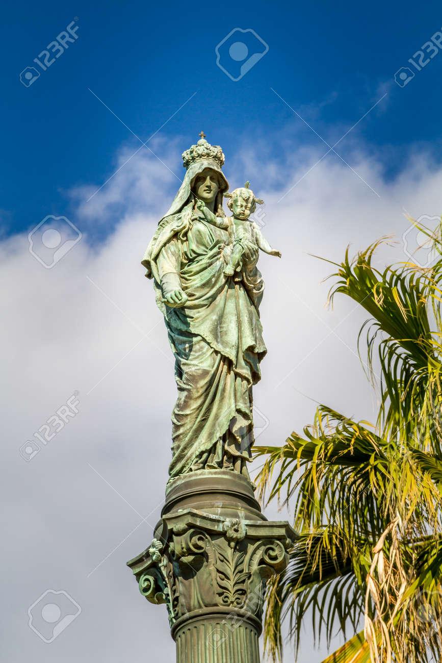 Column of Holy Virgin Mary, Stella Maris Madonna statue, opposite to Stella Maris Monastery in Haifa, Israel. Close-up - 68137663