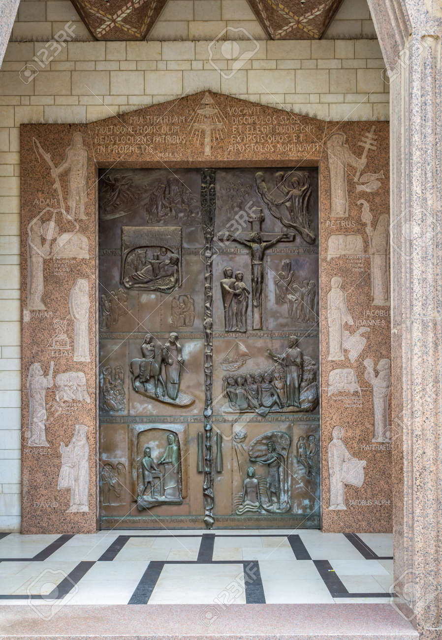 Front double embossed doors of the Basilica of the Annunciation or Church of the Annunciation in & Front Double Embossed Doors Of The Basilica Of The Annunciation ...