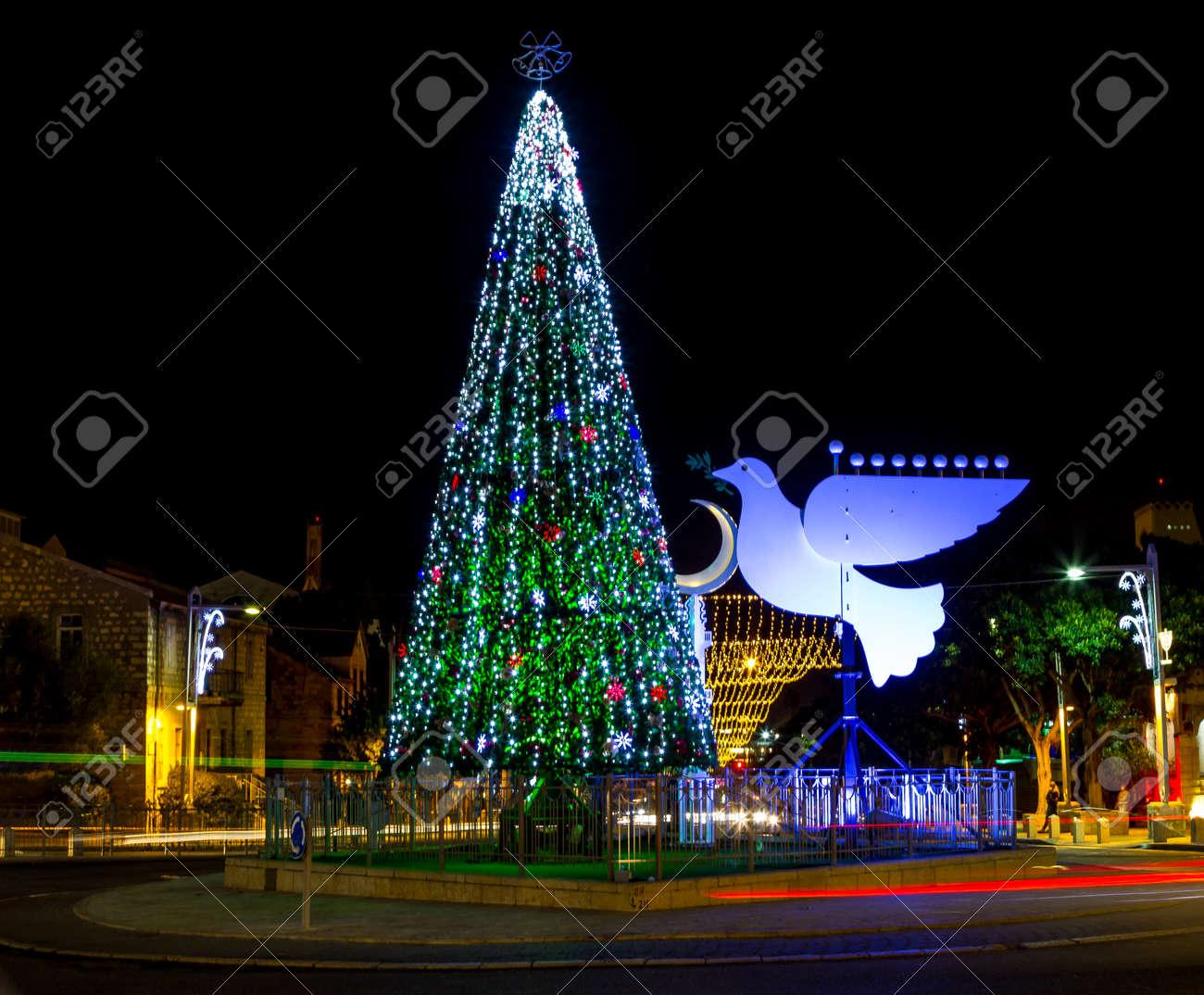 Christmas Hannakah.Christmas Tree And Hanukkah Menorah In The Form Of A Dove In