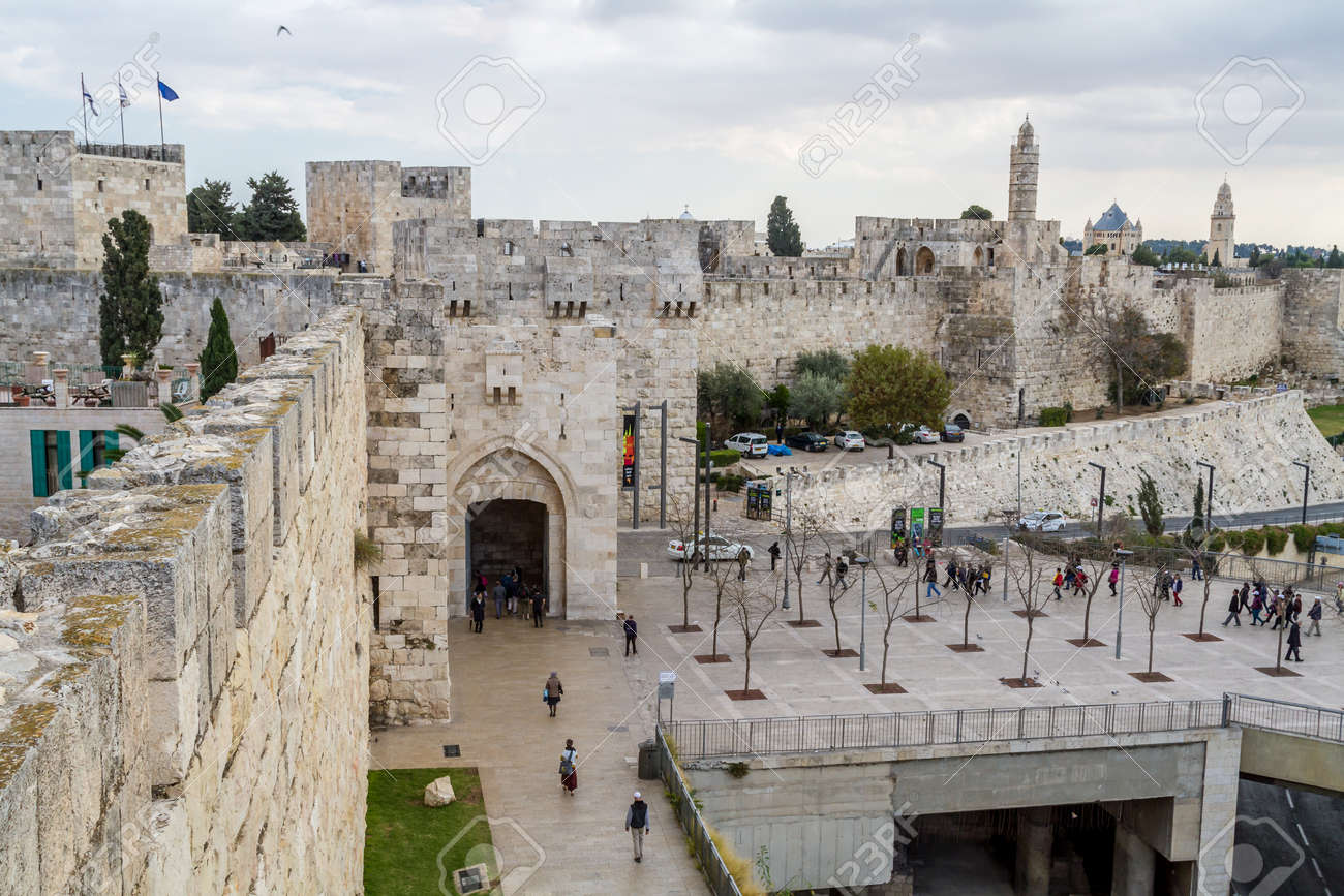 JERUSALEM, ISRAEL - DECEMBER 8: View of the Jaffa Gate from wall