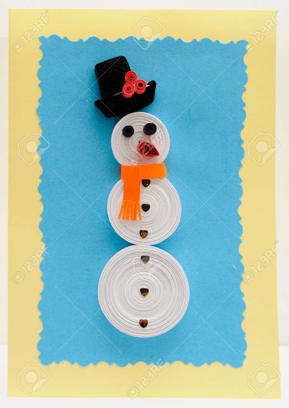 Snowman Quilling Christmas Card Stock Photo Picture And Royalty