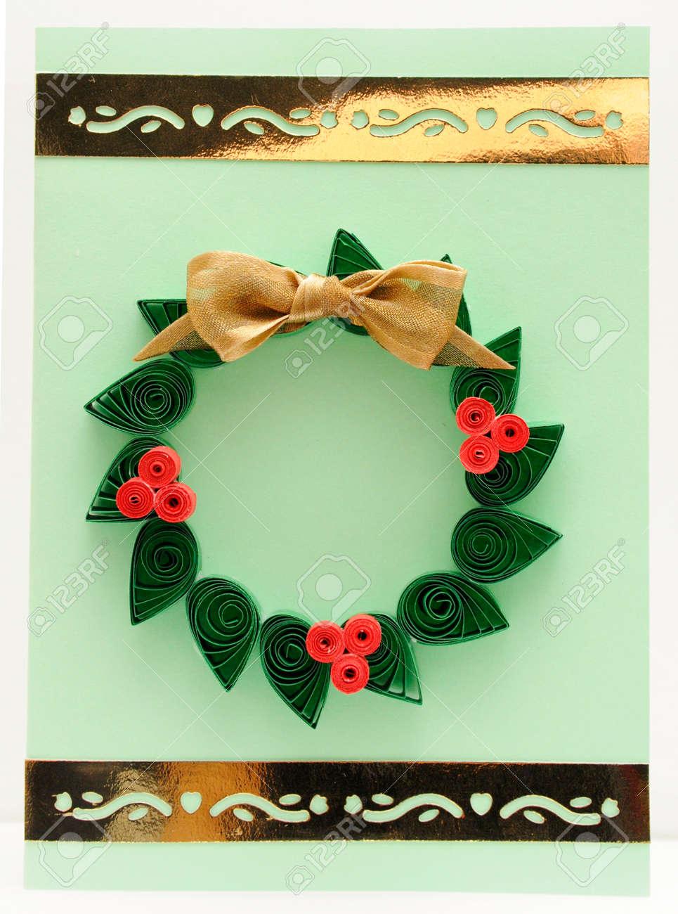 Christmas Mistletoe Wreath Quilling Christmas Card Stock Photo