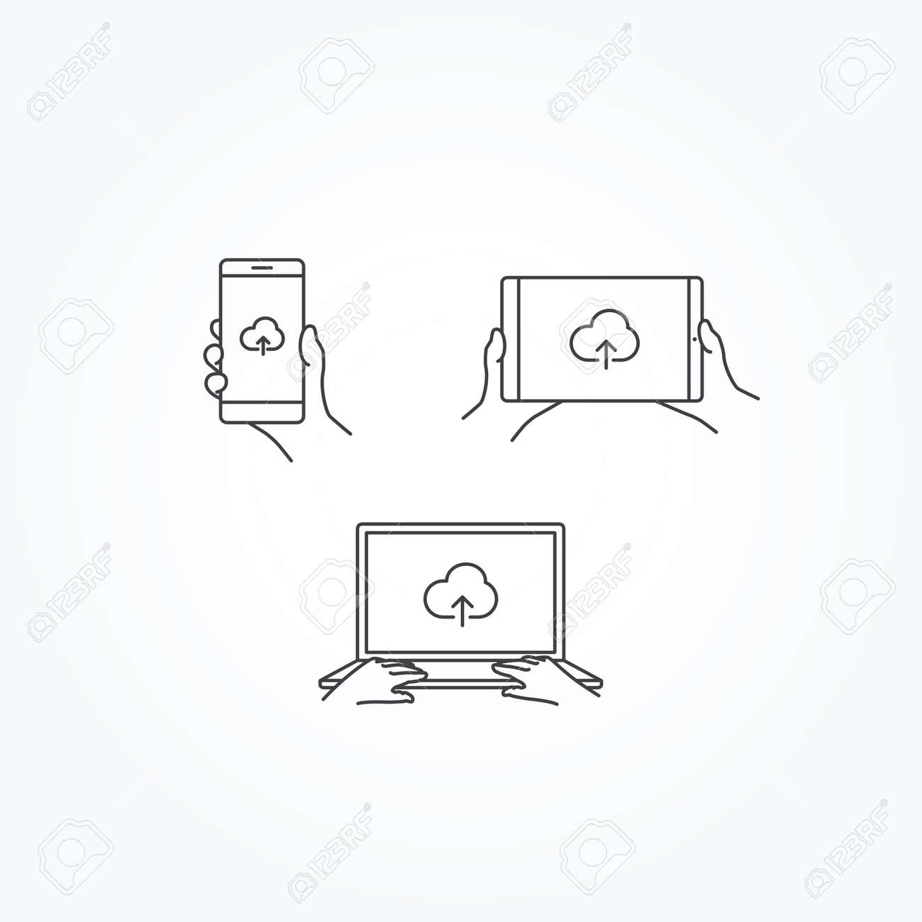 cloud upload icon on phone tablet laptop royalty free cliparts