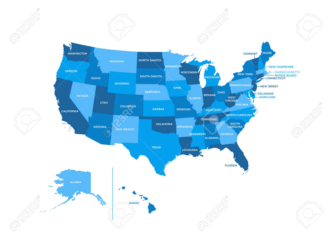 United States of America USA Regions Map