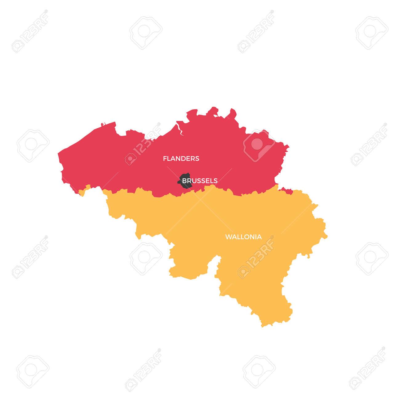 belgium regions map stock vector 88792496