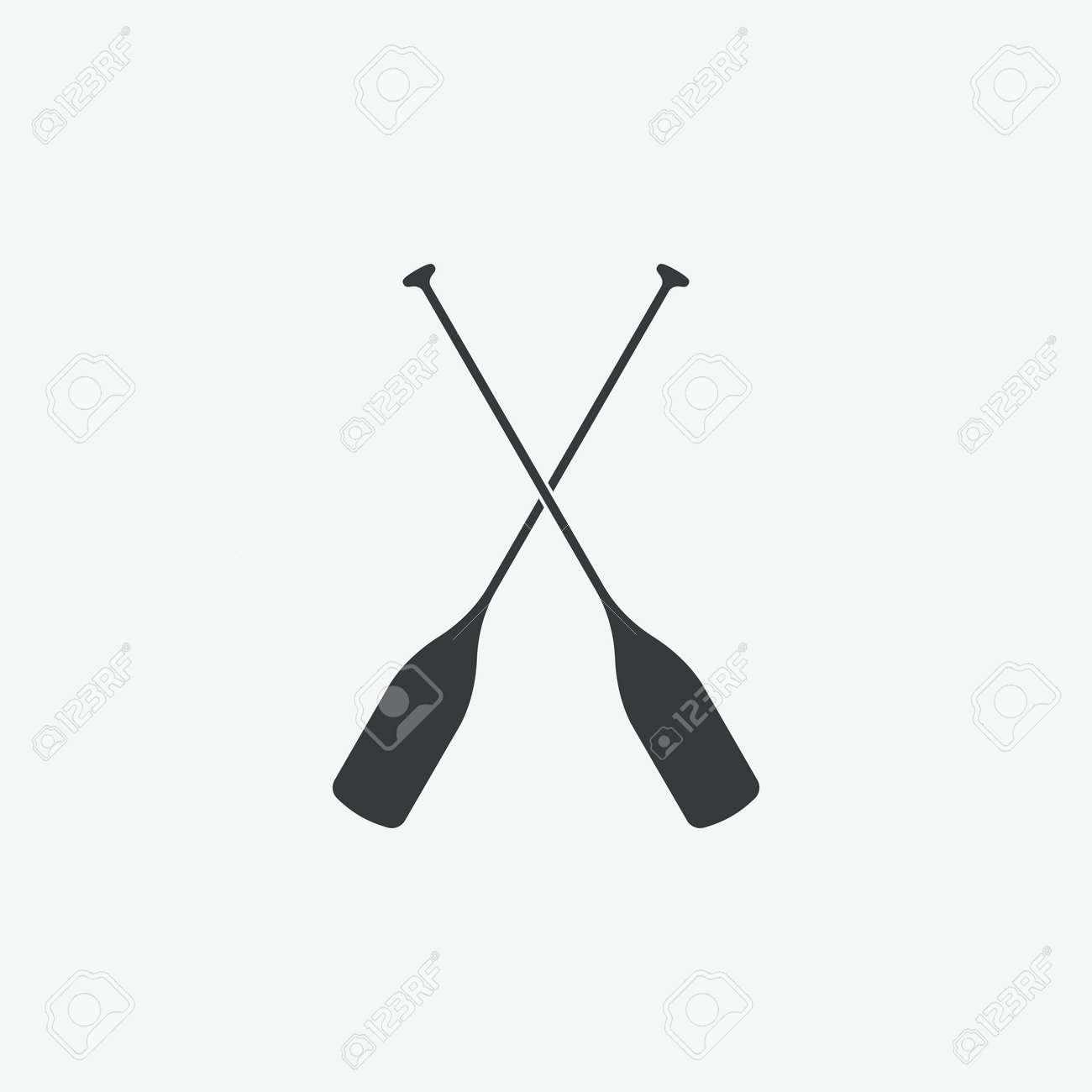 Paddle Boat Oars Vector Icon Stock
