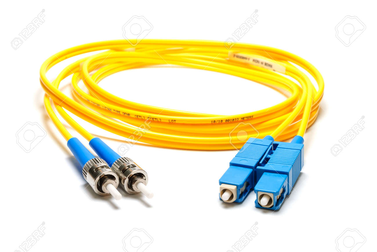 Single-mode optical patch cord SC-ST-type, isolated on a white