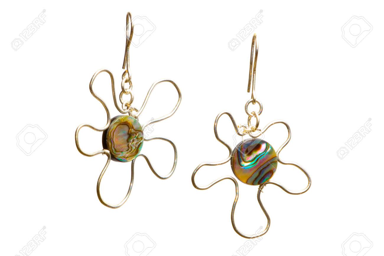 Beautiful Unique Handmade Wire-work Silver Nacreous Earrings Stock ...