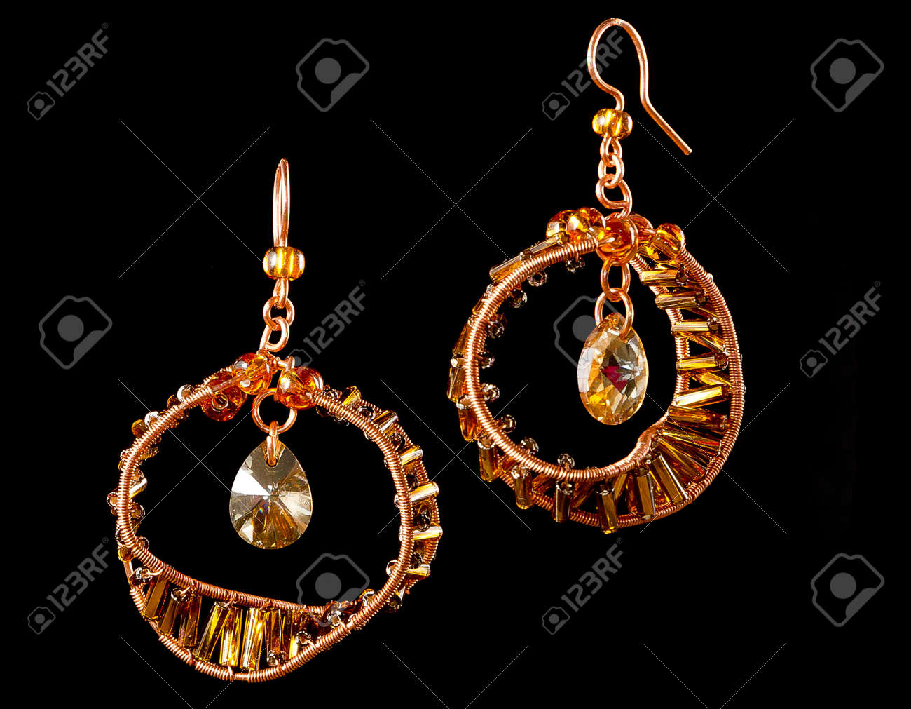 Unique Handmade Wire-work Earrings With Yellow Drops And Spangles ...