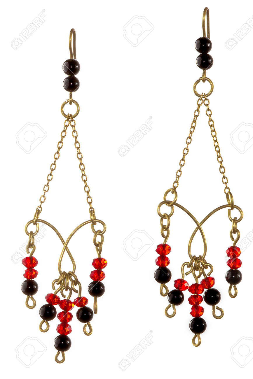 Unique Handmade Wire-work Chain Earrings With Red And Black Beads ...