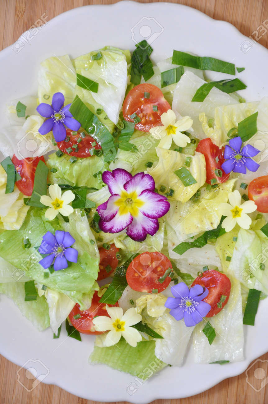 Spring Salad with blossoms Stock Photo - 19139484