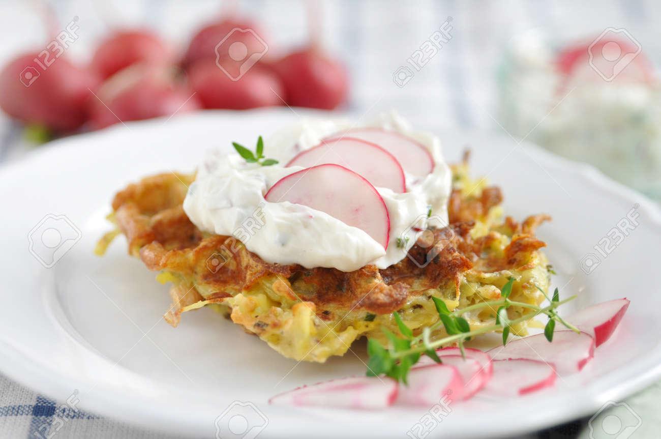 Potato Waffle with cream cheese and radish Stock Photo - 19396024