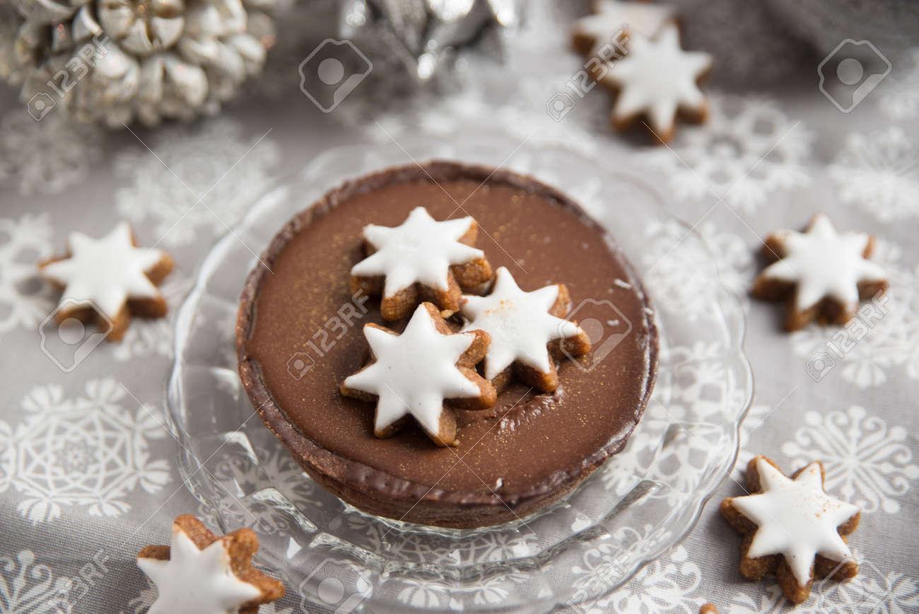 Chocolate Christmas Cake With Cinnamon Star Cookies