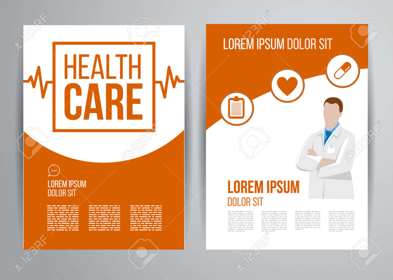 vector health care brochure for clinic with doctors medical