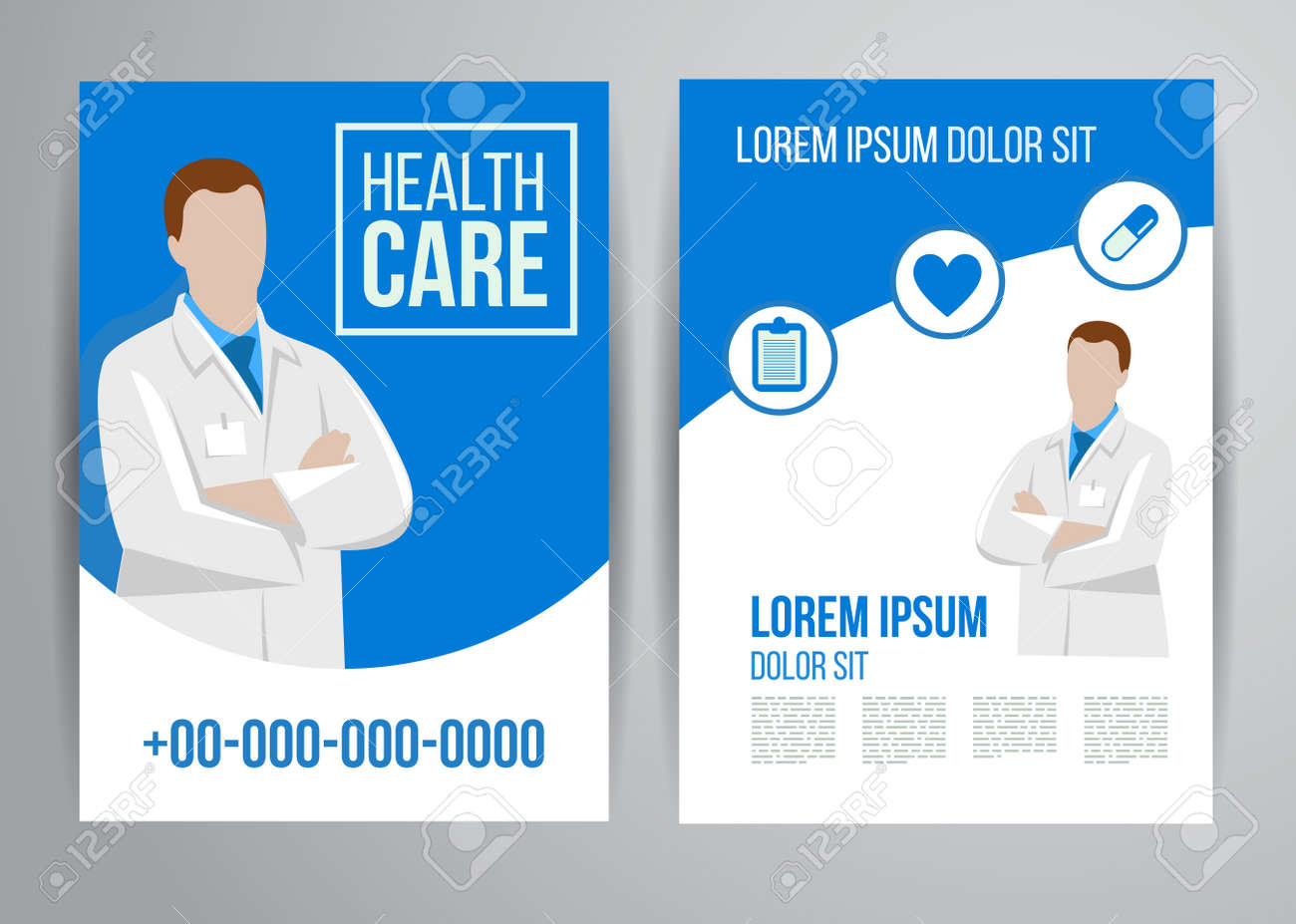 Poster design medical - Vector Health Care Brochure For Clinic With Doctors Medical Flyer Design Stock Vector